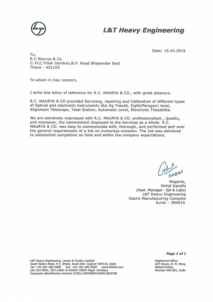 rc maurya and co recommendation letter